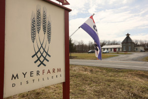 Photo of the sign outside of Myer Farm Distillery.
